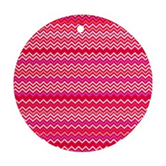 Valentine Pink And Red Wavy Chevron Zigzag Pattern Round Ornament (two Sides)  by PaperandFrill