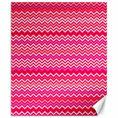 Valentine Pink And Red Wavy Chevron Zigzag Pattern Canvas 8  X 10  by PaperandFrill