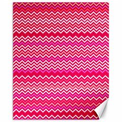 Valentine Pink And Red Wavy Chevron Zigzag Pattern Canvas 16  X 20   by PaperandFrill