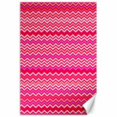 Valentine Pink And Red Wavy Chevron Zigzag Pattern Canvas 20  X 30   by PaperandFrill