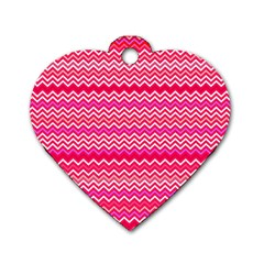 Valentine Pink And Red Wavy Chevron Zigzag Pattern Dog Tag Heart (one Side) by PaperandFrill