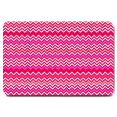 Valentine Pink And Red Wavy Chevron Zigzag Pattern Large Doormat  by PaperandFrill