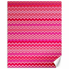 Valentine Pink And Red Wavy Chevron Zigzag Pattern Canvas 11  X 14   by PaperandFrill