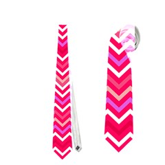 Valentine Pink And Red Wavy Chevron Zigzag Pattern Neckties (two Side)  by PaperandFrill