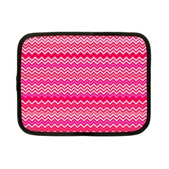 Valentine Pink And Red Wavy Chevron Zigzag Pattern Netbook Case (small)  by PaperandFrill
