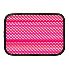 Valentine Pink And Red Wavy Chevron Zigzag Pattern Netbook Case (medium)  by PaperandFrill