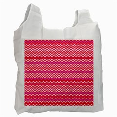 Valentine Pink And Red Wavy Chevron Zigzag Pattern Recycle Bag (two Side)  by PaperandFrill