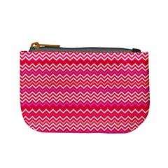 Valentine Pink And Red Wavy Chevron Zigzag Pattern Mini Coin Purses by PaperandFrill