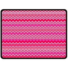 Valentine Pink And Red Wavy Chevron Zigzag Pattern Fleece Blanket (large)  by PaperandFrill