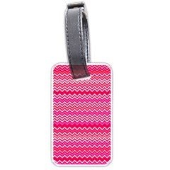 Valentine Pink And Red Wavy Chevron Zigzag Pattern Luggage Tags (one Side)  by PaperandFrill