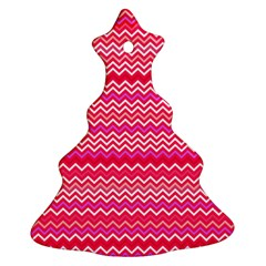 Valentine Pink And Red Wavy Chevron Zigzag Pattern Christmas Tree Ornament (2 Sides) by PaperandFrill