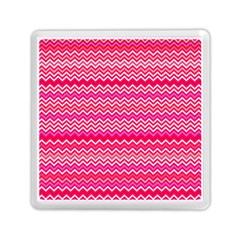 Valentine Pink And Red Wavy Chevron Zigzag Pattern Memory Card Reader (square)  by PaperandFrill