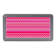 Valentine Pink And Red Wavy Chevron Zigzag Pattern Memory Card Reader (mini) by PaperandFrill