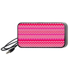 Valentine Pink And Red Wavy Chevron Zigzag Pattern Portable Speaker (black)  by PaperandFrill
