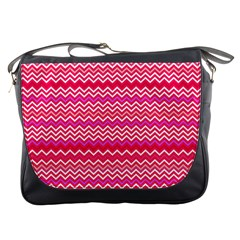 Valentine Pink And Red Wavy Chevron Zigzag Pattern Messenger Bags by PaperandFrill