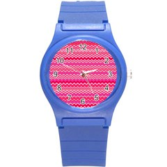 Valentine Pink And Red Wavy Chevron Zigzag Pattern Round Plastic Sport Watch (s) by PaperandFrill