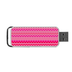 Valentine Pink And Red Wavy Chevron Zigzag Pattern Portable Usb Flash (two Sides) by PaperandFrill