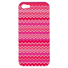 Valentine Pink And Red Wavy Chevron Zigzag Pattern Apple Iphone 5 Hardshell Case by PaperandFrill
