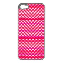 Valentine Pink And Red Wavy Chevron Zigzag Pattern Apple Iphone 5 Case (silver) by PaperandFrill