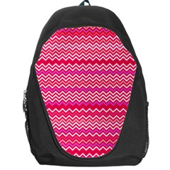 Valentine Pink And Red Wavy Chevron Zigzag Pattern Backpack Bag by PaperandFrill