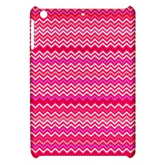 Valentine Pink And Red Wavy Chevron Zigzag Pattern Apple Ipad Mini Hardshell Case by PaperandFrill