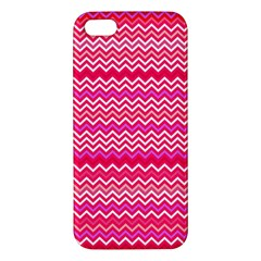 Valentine Pink And Red Wavy Chevron Zigzag Pattern Apple Iphone 5 Premium Hardshell Case by PaperandFrill