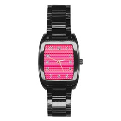 Valentine Pink And Red Wavy Chevron Zigzag Pattern Stainless Steel Barrel Watch by PaperandFrill