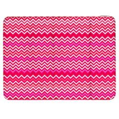 Valentine Pink And Red Wavy Chevron Zigzag Pattern Samsung Galaxy Tab 7  P1000 Flip Case by PaperandFrill
