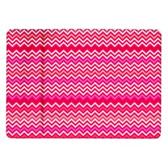 Valentine Pink And Red Wavy Chevron Zigzag Pattern Samsung Galaxy Tab 10 1  P7500 Flip Case by PaperandFrill