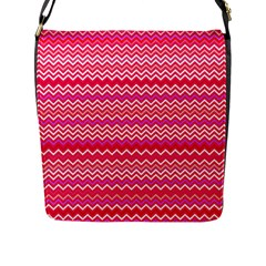 Valentine Pink And Red Wavy Chevron Zigzag Pattern Flap Messenger Bag (l)  by PaperandFrill