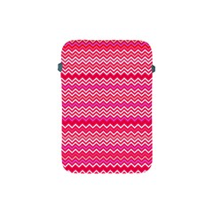 Valentine Pink And Red Wavy Chevron Zigzag Pattern Apple Ipad Mini Protective Soft Cases by PaperandFrill