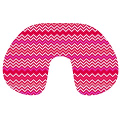 Valentine Pink And Red Wavy Chevron Zigzag Pattern Travel Neck Pillows by PaperandFrill