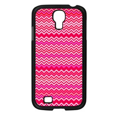 Valentine Pink And Red Wavy Chevron Zigzag Pattern Samsung Galaxy S4 I9500/ I9505 Case (black) by PaperandFrill