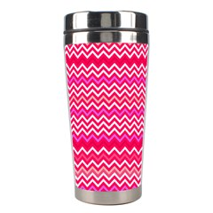 Valentine Pink And Red Wavy Chevron Zigzag Pattern Stainless Steel Travel Tumblers by PaperandFrill