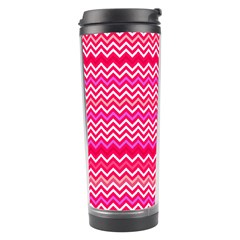 Valentine Pink And Red Wavy Chevron Zigzag Pattern Travel Tumblers by PaperandFrill