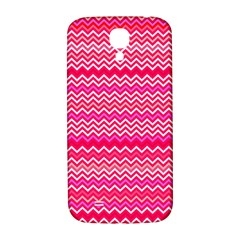 Valentine Pink And Red Wavy Chevron Zigzag Pattern Samsung Galaxy S4 I9500/i9505  Hardshell Back Case by PaperandFrill