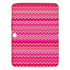 Valentine Pink And Red Wavy Chevron Zigzag Pattern Samsung Galaxy Tab 3 (10 1 ) P5200 Hardshell Case  by PaperandFrill