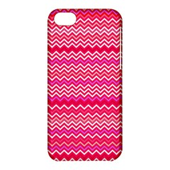 Valentine Pink And Red Wavy Chevron Zigzag Pattern Apple Iphone 5c Hardshell Case by PaperandFrill