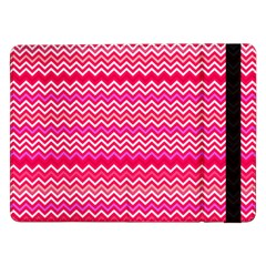 Valentine Pink And Red Wavy Chevron Zigzag Pattern Samsung Galaxy Tab Pro 12 2  Flip Case by PaperandFrill