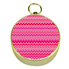 Valentine Pink And Red Wavy Chevron Zigzag Pattern Gold Compasses by PaperandFrill