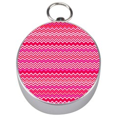 Valentine Pink And Red Wavy Chevron Zigzag Pattern Silver Compasses by PaperandFrill