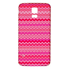 Valentine Pink And Red Wavy Chevron Zigzag Pattern Samsung Galaxy S5 Back Case (white) by PaperandFrill