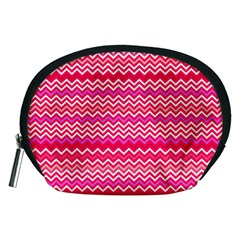 Valentine Pink And Red Wavy Chevron Zigzag Pattern Accessory Pouches (medium)  by PaperandFrill