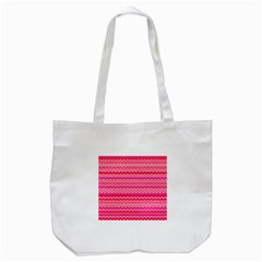 Valentine Pink And Red Wavy Chevron Zigzag Pattern Tote Bag (white)  by PaperandFrill