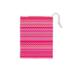 Valentine Pink And Red Wavy Chevron Zigzag Pattern Drawstring Pouches (small)  by PaperandFrill