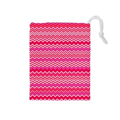 Valentine Pink And Red Wavy Chevron Zigzag Pattern Drawstring Pouches (medium)  by PaperandFrill