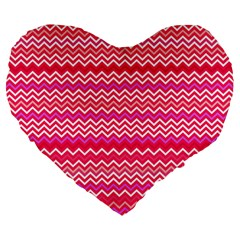 Valentine Pink And Red Wavy Chevron Zigzag Pattern Large 19  Premium Flano Heart Shape Cushions by PaperandFrill