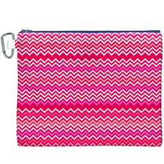 Valentine Pink And Red Wavy Chevron Zigzag Pattern Canvas Cosmetic Bag (xxxl)  by PaperandFrill