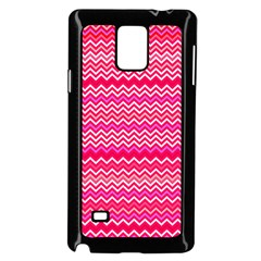 Valentine Pink And Red Wavy Chevron Zigzag Pattern Samsung Galaxy Note 4 Case (black) by PaperandFrill