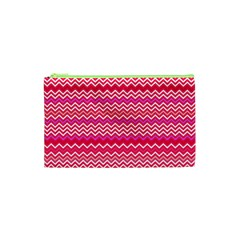 Valentine Pink And Red Wavy Chevron Zigzag Pattern Cosmetic Bag (xs) by PaperandFrill